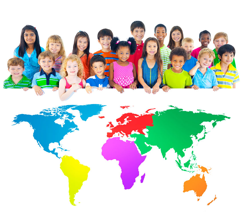 Children standing above a colorful world map.